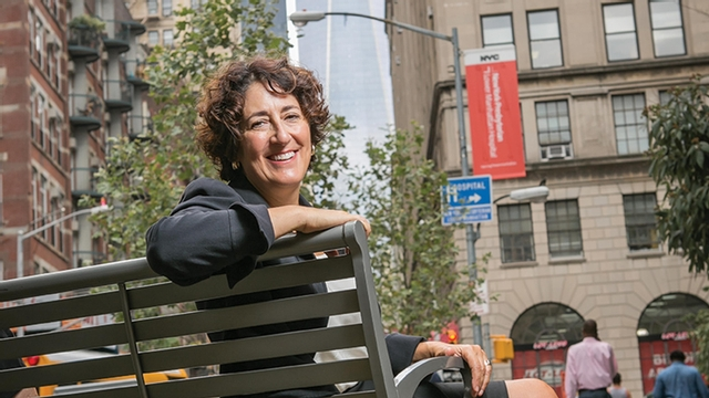 Susan Panepento sits on a bench in New York City