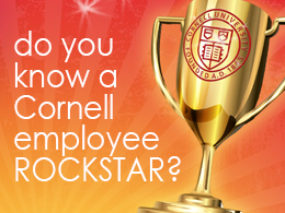 graphic: trophy, text: do you know a cornell employee rockstar?