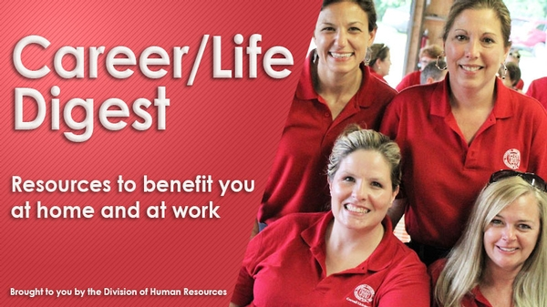 Career/Life Digest Banner featuring photo of 4 women in Cornell shirts