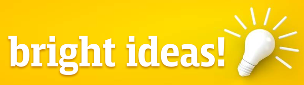 yellow banner with lightbulb and text