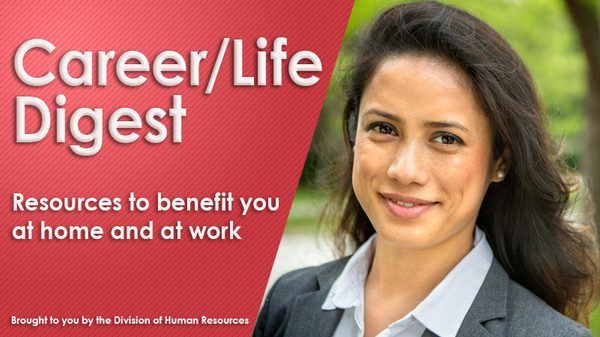 Career/Life Digest Banner featuring photo of young woman smiling.
