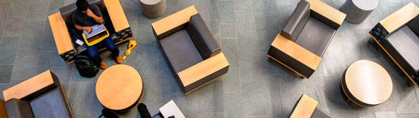 aerial view of casual seating in Duffield atrium