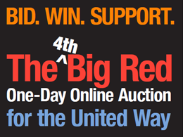 poster: bid. win. support. The 4th Big Red one-day online auction for the united way