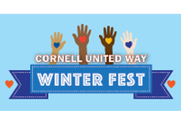 Blue Cornell United Way winter fest banner with hands and hearts