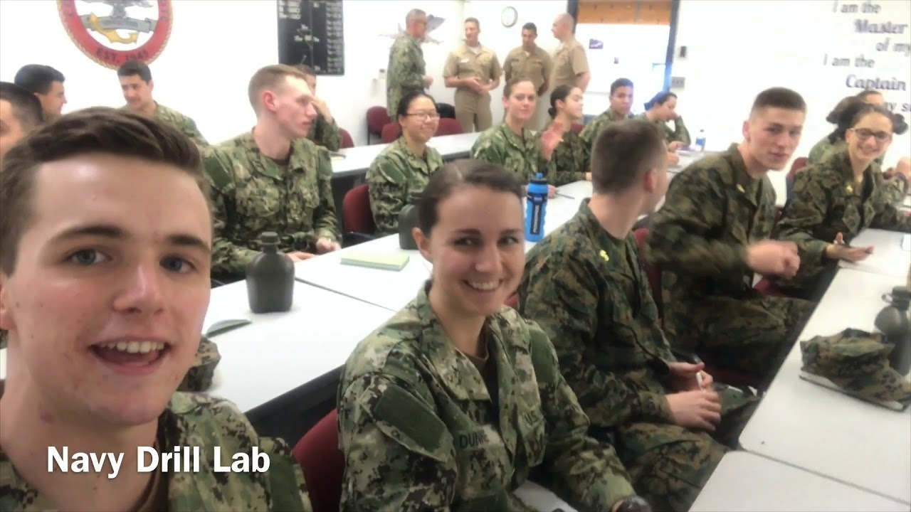Student Jack McSorley and classmates in Navy Drill Lab